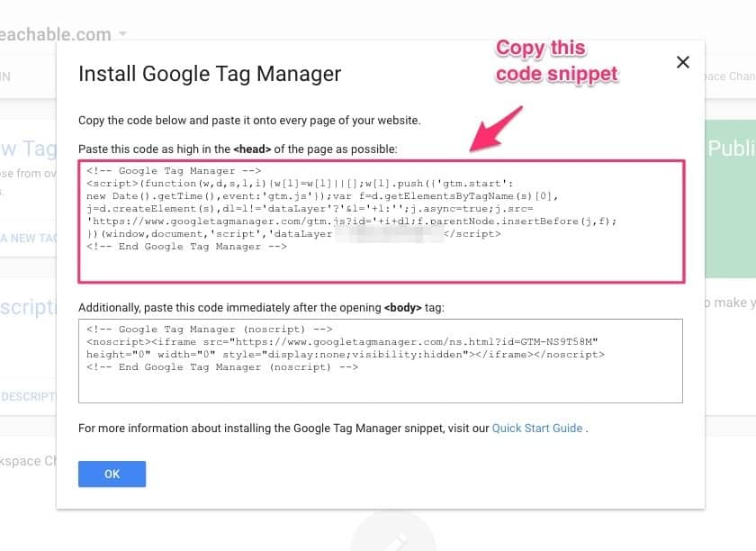 Copy Google Tag Manager Code
