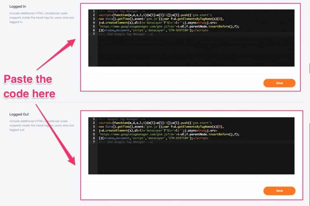 Paste GTM Code in Teachable