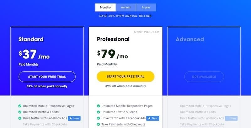Leadpages monthly pricing