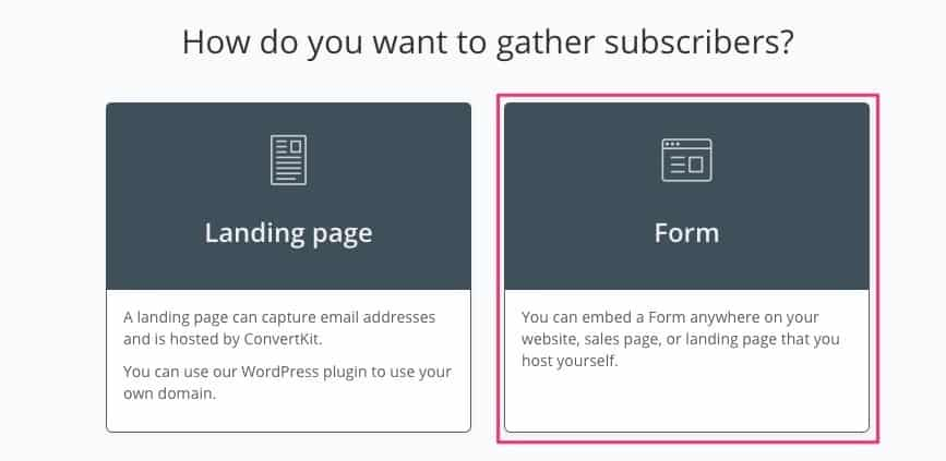 Select ConvertKit Form Type