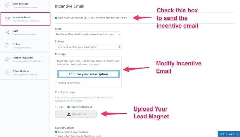 Setup ConvertKit Incentive Email