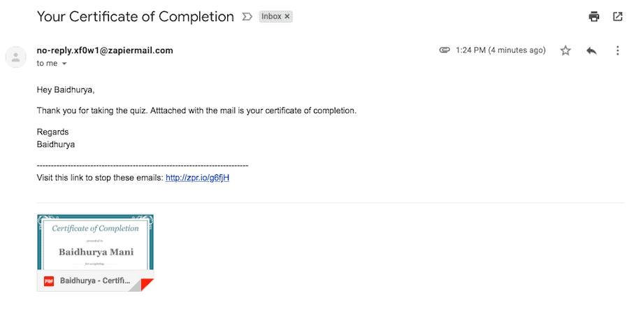 Certificate Email Screenshot