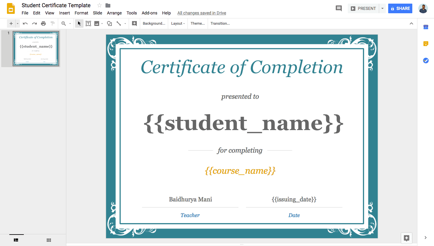 Crate Variables in Google Slides Certificate