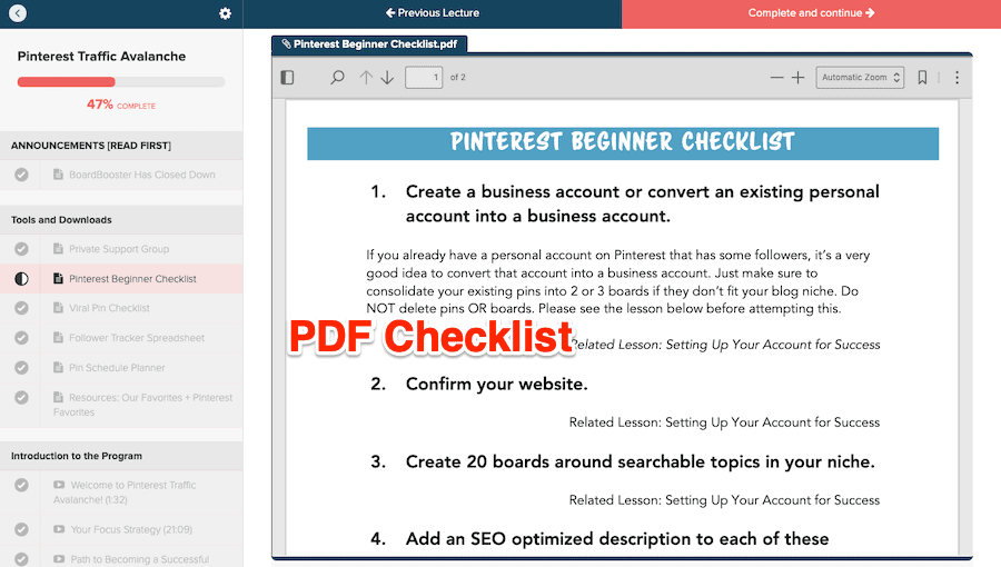Sample PDF Checklist