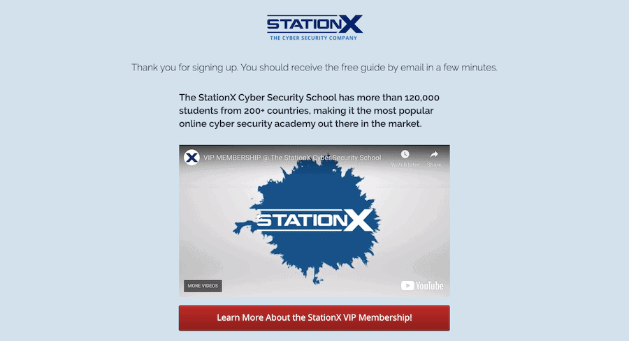 Stationx Thank You Page