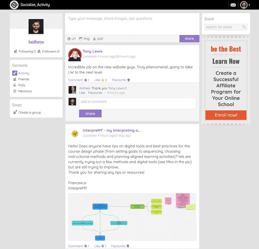LearnWorldsコミュニティツール